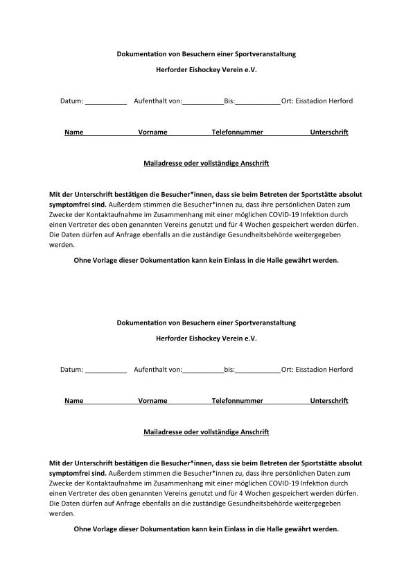 Formular zu Kontaktverfolgung